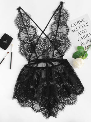 Flutter Eyelash Lace Sleep Romper
