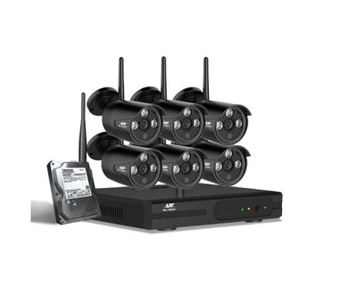 UL-tech CCTV Wireless Security Camera System 8CH Home Outdoor WIFI 6 Bullet Cameras Kit + 1TB Hard Drive