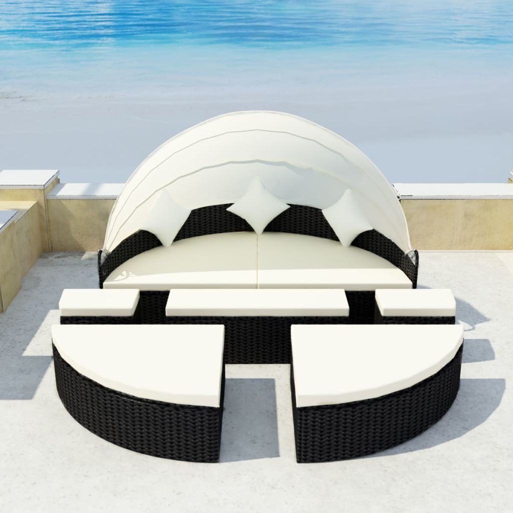 Paros 2-in-1 Sun Bed with Canopy - Black Poly Rattan