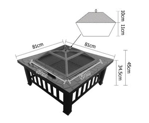 Grillz Square 2 in 1 Outdoor Table (Fire Pit/BBQ Grill)