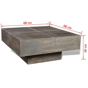 Abby Square Wood Coffee Table - Antique Finish (Black Stain)