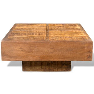 Abby Square Wood Coffee Table - Antique Finish (Brown Stain)