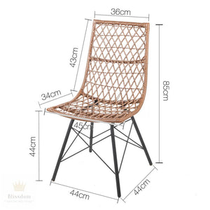 Set of 4 x Lamore Dining Chairs - PE Wicker (Natural OR Black)