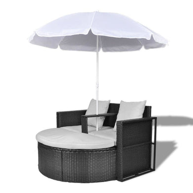 Icaria Outdoor Sun Lounge Lounge with Umbrella - Black Poly Rattan