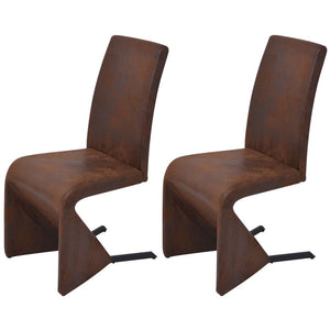 2 x Samsara Fabric Dining Chairs Set - Brown