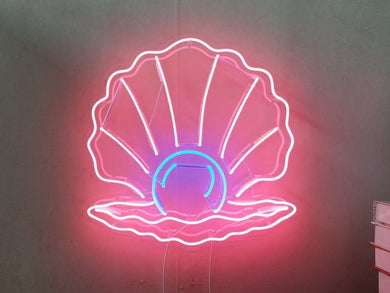 Clam Shell with Pearl Neon Sign
