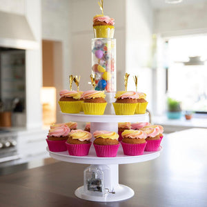 Surprise Cake - 2 in 1 Popping Cake & Cupcake Stand with Music & All Accessories (Full Deluxe  Set)