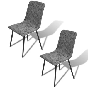 2 x Narcissia Bi-cast Leather Dining Chairs Set - Dark Grey