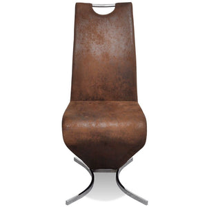 4 x Sicily Fabric Dining Chairs - Brown/Silver