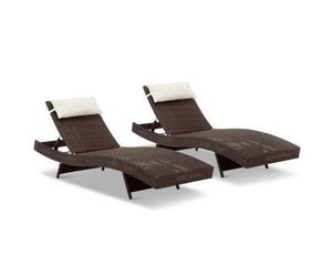 2 x Rangali Wicker Outdoor Sun Lounges - Poly Rattan (2 Colours)
