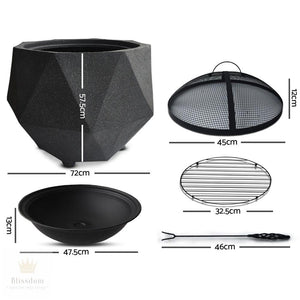 Grillz Outdoor Portable Lightweight Octagon Fire Pit