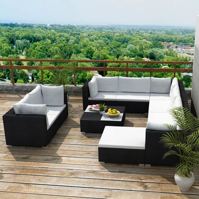 Naxos 9 Seat Outdoor Sofa + Ottoman + Table - Black Poly Rattan