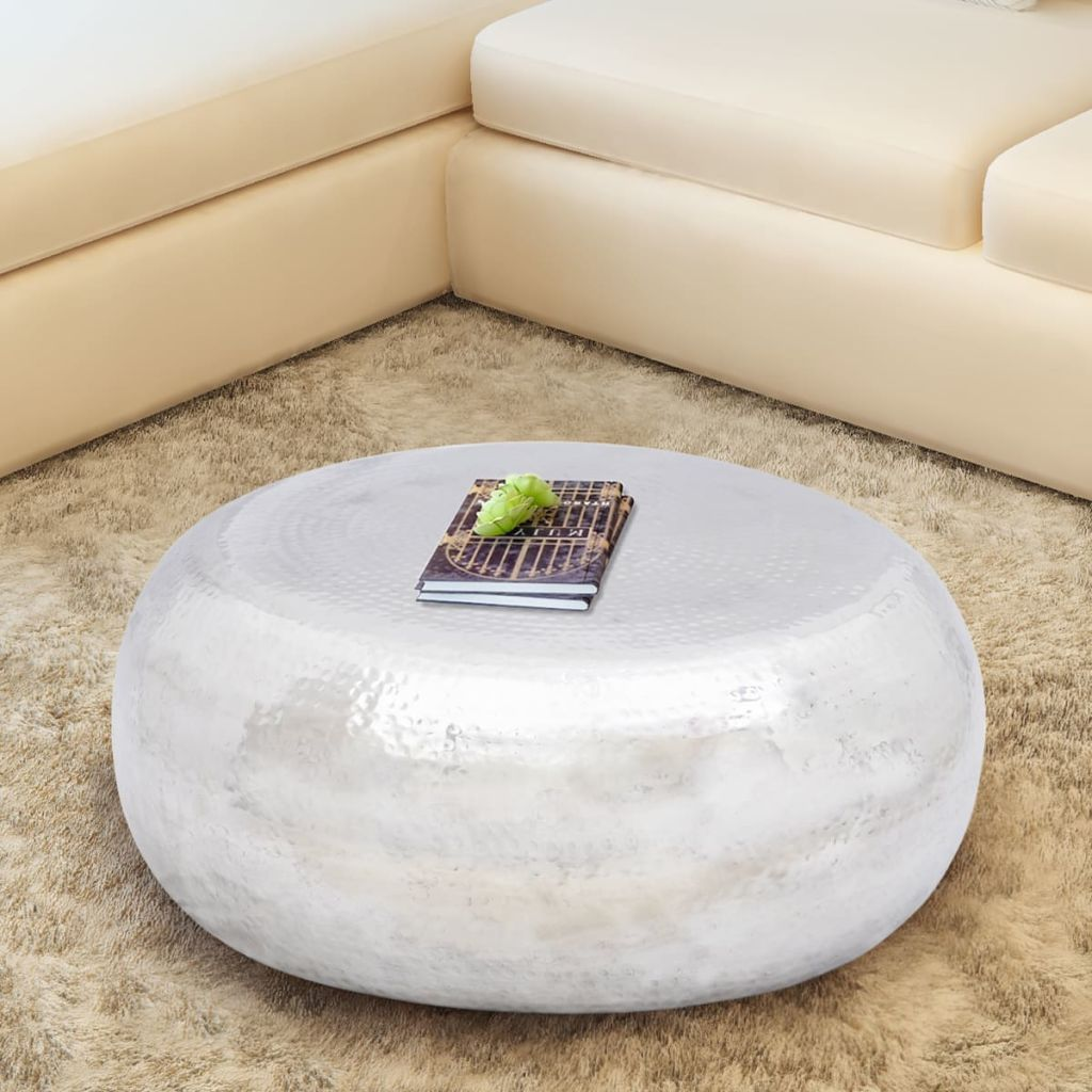 new product 38a7d 1b90b Dahlia Hammered Metal Drum Coffee Table - Silver