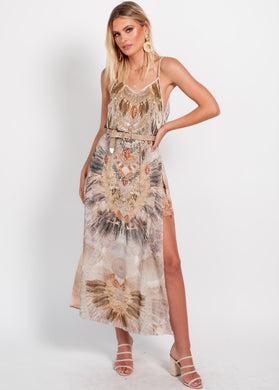 Lost Lotus Chiffon Maxi Dress - Safarian