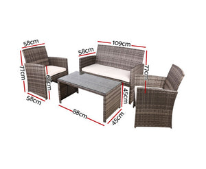 Gardeon Garden 4 Piece Outdoor Wicker Lounge Setting with Storage Cover (Ombre Grey)