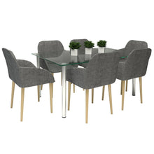6 x Zara Fabric Dining Chairs with Armrests - Slate Grey