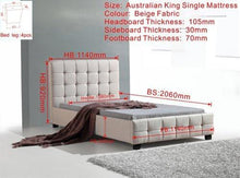 Lois King Single Linen Bed Frame (2 Colours)
