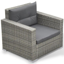 Kythira 4 Seat Outdoor Sofa + Ottoman + Table - Grey Poly Rattan