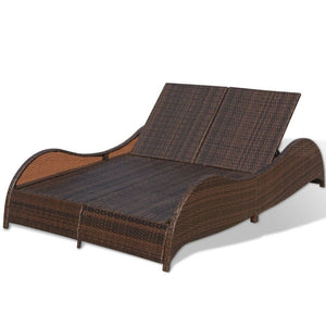 Santorini Double Sun Lounger - Brown Poly Rattan
