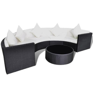 Chios Half-Circle Outdoor Sofa + Coffee Table Set