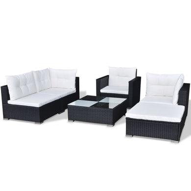 Milos 4 Seat Outdoor Sofa + Ottoman + Table - Black Poly Rattan