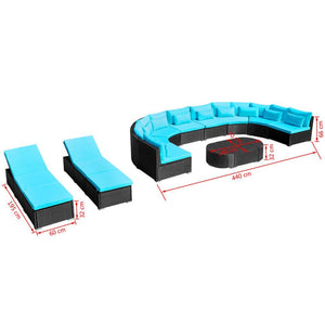 Mermaid Mansion 10 Seat Outdoor Entertainment Sofa + 2 x Sun Loungers +  Multifunctional Coffee Table