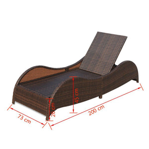 Santorini Single Sun Lounger - Brown Poly Rattan