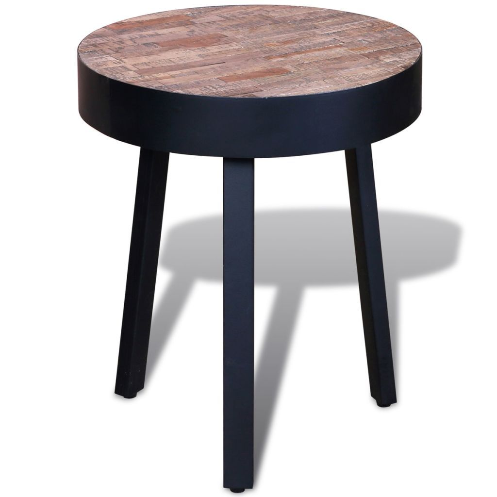 Jamiha Reclaimed Teak Wood Round Side Table