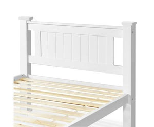 Grace Wooden King Single Bed Frame - Pearl White
