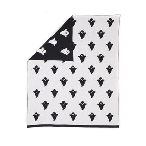 Reversible Knitted Ghost Blanket (Black/White)