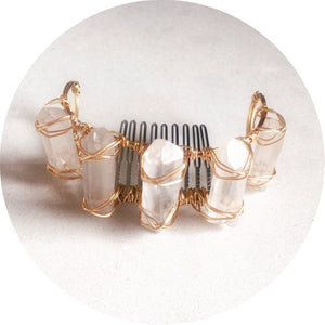 ARRIVING SOON > The Becky - Clear Quartz bun cuff wrapped in gold, silver or rose gold wire