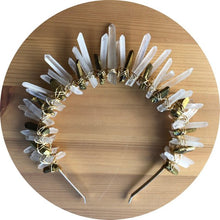 ARRIVING SOON > The Hazel - short Clear Crystal Quartz cluster crown headband with gold silver or rose gold wire