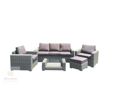 Amalfi 5 Seat Outdoor Wicker Sofa Set - Poly Rattan (2 Colours)