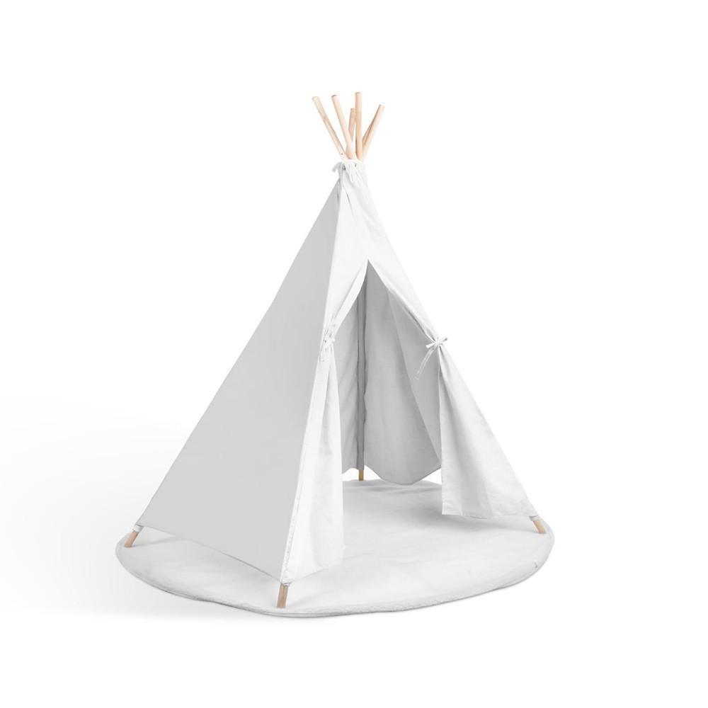 Zara Luxe 6 Pole Teepee - Canvas & Solid Timber - White