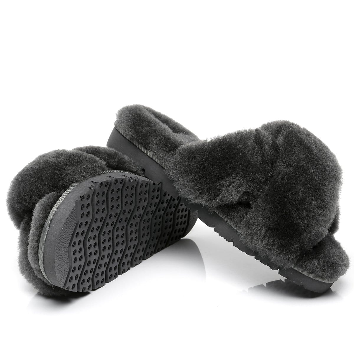 UGG Fluffy Cross Slides