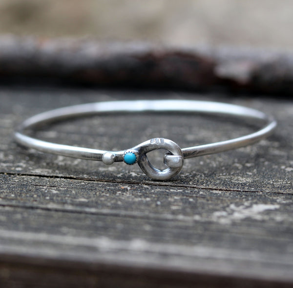 Blue Kingman turquoise sterling silver bangle bracelet
