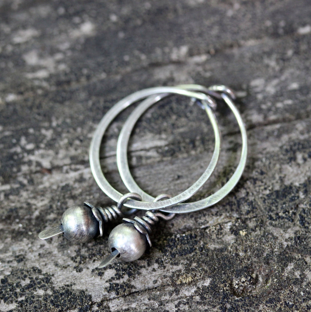 Sterling silver beaded dangle hoop earrings