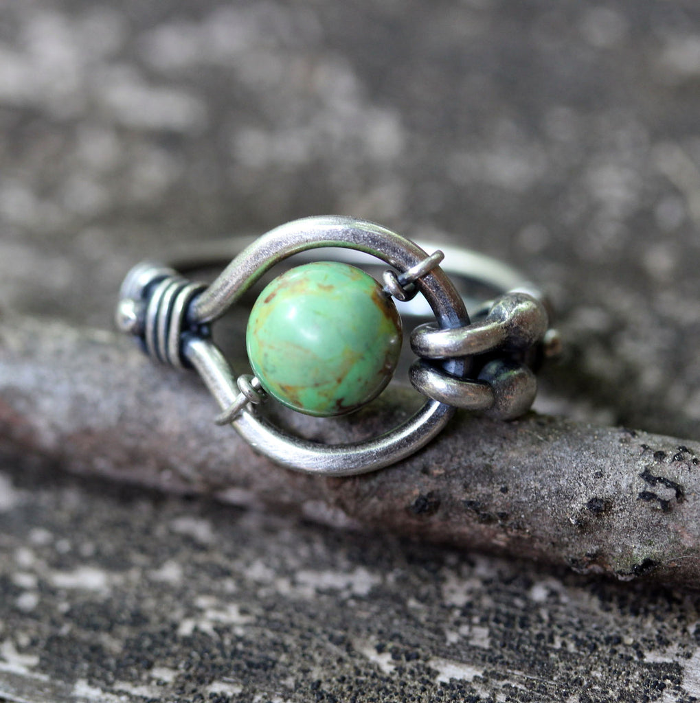 Green Kingman turquoise sterling silver kinetic ring