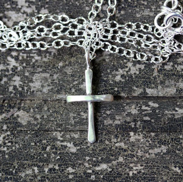 Tiny cross necklace / sterling silver cross necklace / gift for her / baptism gift / confirmation gift / jewelry sale  simple cross necklace