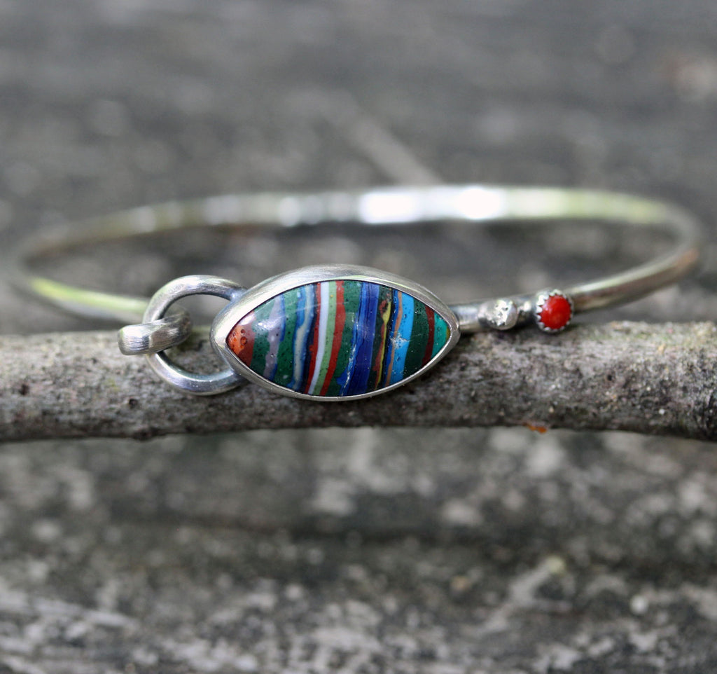 Rainbow calscilica red coral sterling silver bangle bracelet