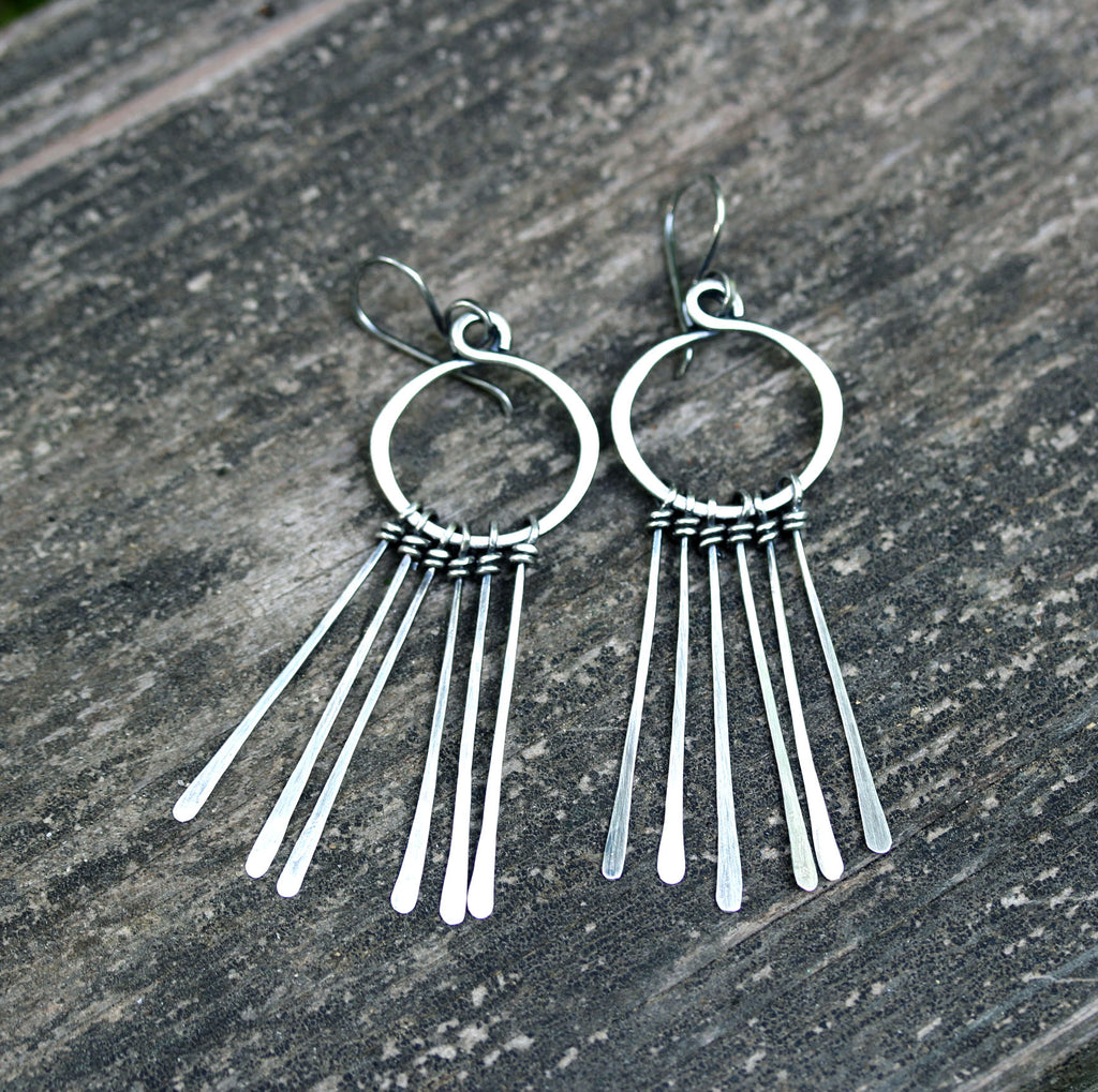 Sterling silver fringe dangle earrings