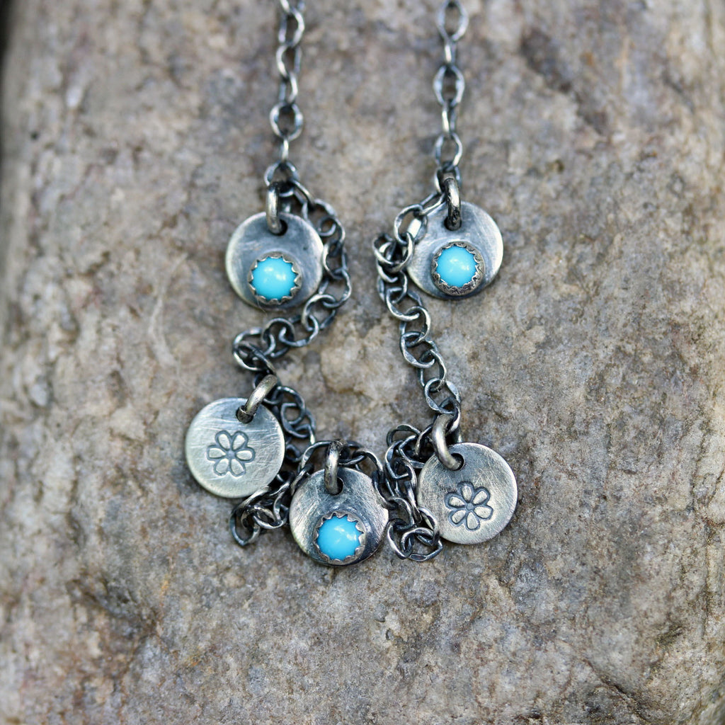 Tiny turquoise sterling silver charm necklace