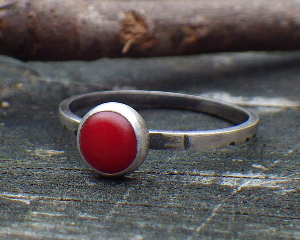 Red coral sterling silver ring / red coral stacking ring / gift for her / jewelry sale / boho ring / rustic red ring / tiny ring