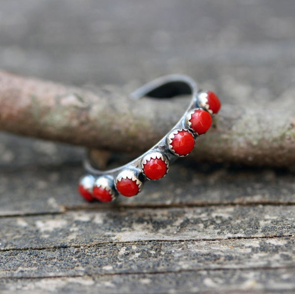 Red coral sterling silver infinity ring / red coral eternity ring / multi stone ring / red stone ring / stacking rings / boho rings