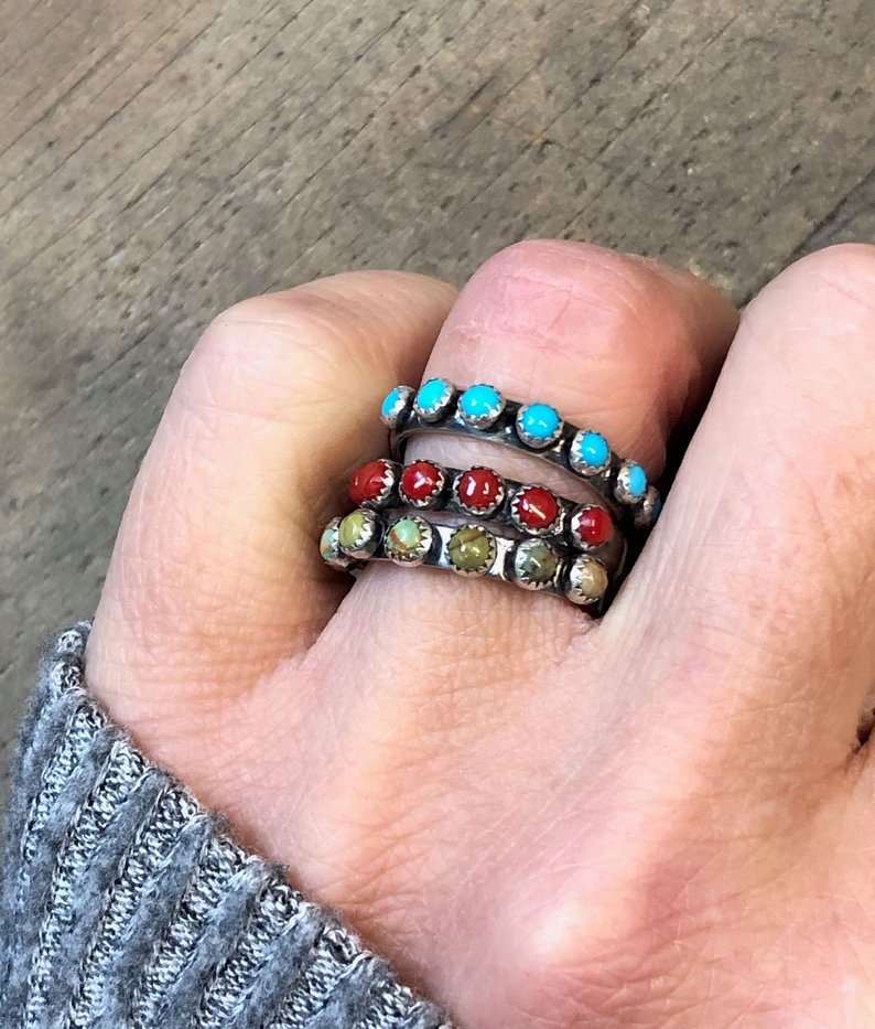 Blue Kingman turquoise sterling silver half eternity ring