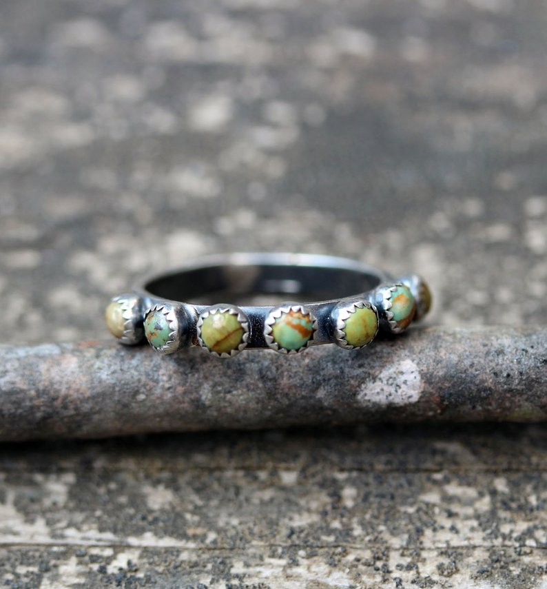 Green turquoise sterling silver infinity ring / turquoise eternity ring / multi stone ring / green stone ring / stacking rings / boho rings