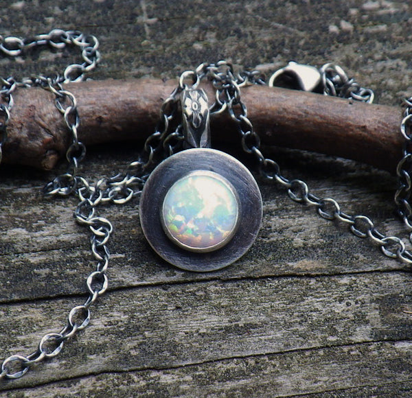 Opal necklace / sterling silver necklace / gift for her / jewelry sale / oxidized chain / gemstone necklace / October birthstone jewelry