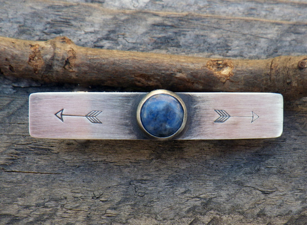 Lapis barrette / SMALL silver barrette / arrow barrette / gift for her / French barrette / sterling barrette / bangs barrette / jewelry sale