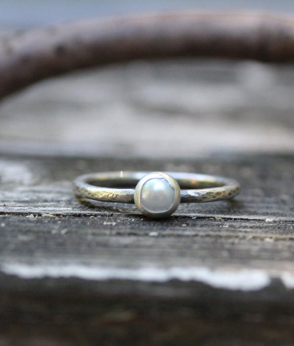 Tiny pearl ring / sterling silver ring / gift for her / bridesmaid gift / fresh water pearl / white pearl ring / dainty ring / jewelry sale