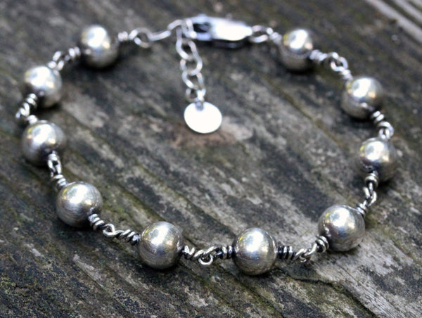 Sterling silver bracelet / sterling silver beaded bracelet / gift for her / layering bracelet / adjustable bracelet / jewelry sale /